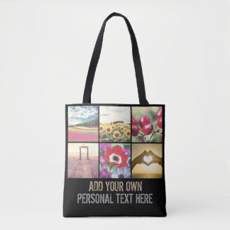Custom photo collage personalized text tote bag