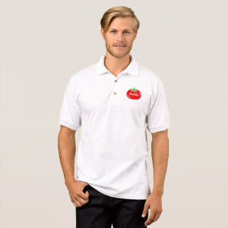 Custom polo shirts and tees with red tomato logo