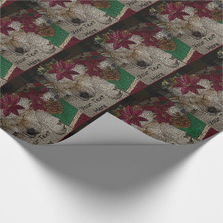 Cute akita sleeping with hat christmas decorations wrapping paper