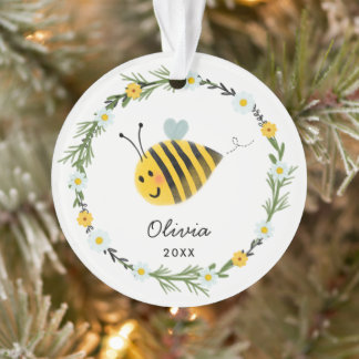 Cute Baby Bee First Christmas Ornament