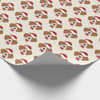 Cute Beagle with a Santa Hat Pattern Christmas Wrapping Paper