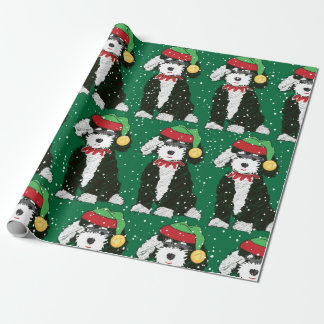 Cute Bernedoodle Mountain Dog Green Wrapping Paper