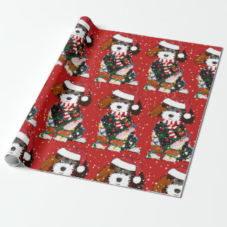 Cute Bernedoodle Mountain Dog Red Wrapping Paper