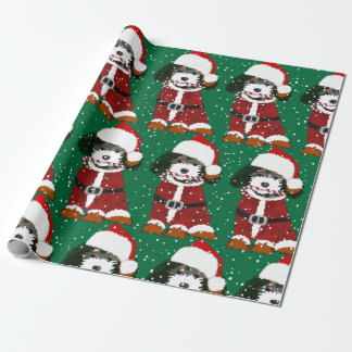Cute Bernedoodle Santa Dog Green  Wrapping Paper