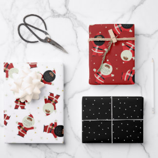 Cute Black Santa Party Pattern Collection Wrapping Paper Sheets
