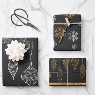 Cute Black White Gold Christmas Tree Ornament Gift Wrapping Paper Sheets