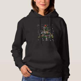 Cute Cat Christmas Tree Covered By Flashlight Hoodie