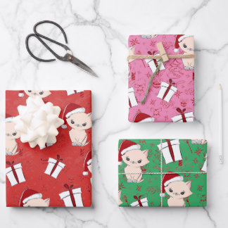 Cute Cat Christmas Wrapping Paper Sheets