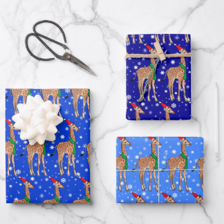Cute Christmas Baby Giraffe in a Santa Hat Wrapping Paper Sheets