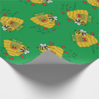 Cute Christmas Bee Funny Holiday Cartoon Wrapping Paper