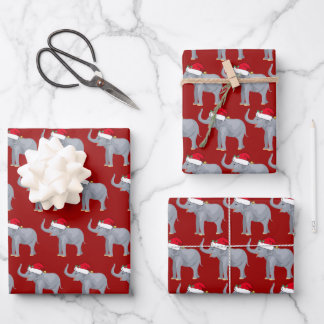 Cute Christmas Elephant Kids Wrapping Paper Sheets