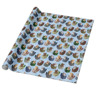 Cute Christmas Kittens in Holiday Boxes Wrapping Paper