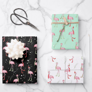 Cute Christmas pink flamingo pattern Wrapping Paper Sheets