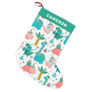 Cute Colorful Christmas Dinosaurs Personalized Small Christmas Stocking