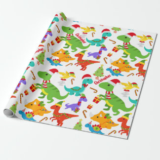 Cute Dinosaurs Christmas Personalized Wrapping Paper