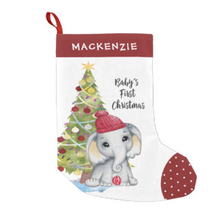 Cute Elephant BABY'S FIRST CHRISTMAS Red White Dot Small Christmas Stocking