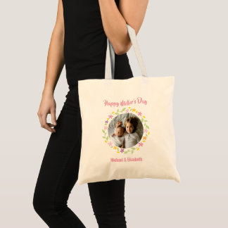 Cute Family Photo Floral Frame Happy Mother's Day Tote Bag
