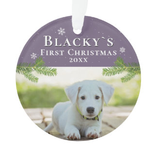 Cute First Christmas Pine Puppy Photo Ornament