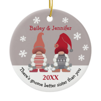 Cute Gnome Better Sister Red Pink Grey White Ceramic Ornament