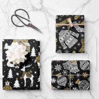 Cute Gold Black White Deer Sweater Bauble Fairisle Wrapping Paper Sheets