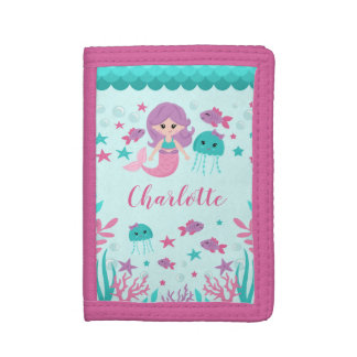 Cute Mermaid Personalized Girl Trifold Wallet