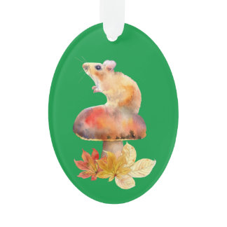 Cute Mouse on a Red Mushroom Ceramic Ornament