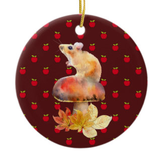 Cute Mouse on a Red Mushroom with Apples Ceramic Ornament