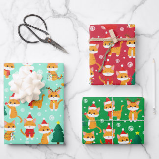 Cute Orange Tabby Christmas Wrapping Paper Sheets