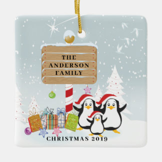 Cute Penguins Family of 3 Christmas Ornament