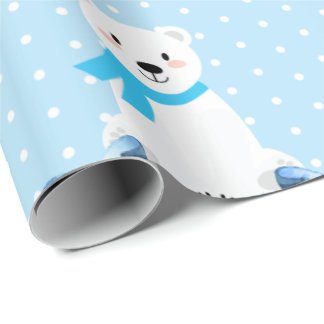 Cute Personalized Name Polar Bear Baby Boy Wrapping Paper