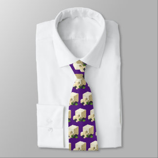 Cute tiled cheese and black olives tiled neck tie