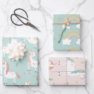 Cute Unicorn Rainbow Gold Glitter Pastel Pink Blue Wrapping Paper Sheets