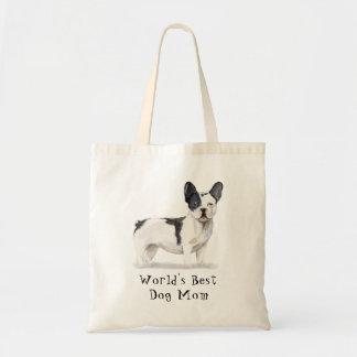 Cute World's Best Dog Mom Watercolor Frenchie Dog Tote Bag