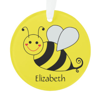 Cute Yellow Bumble Bee Personalized Ornament