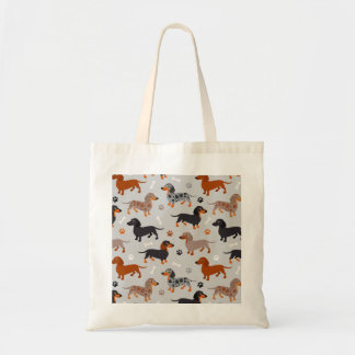Dachshund Paws and Bones Pattern Gray Tote Bag
