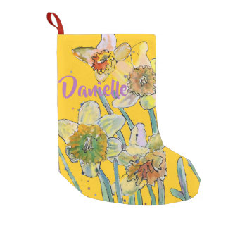 Daffodil Watercolor Flowers Floral Name Stocking