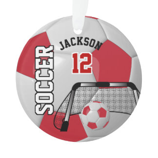 Dark Red and White Personalize Soccer Ball Ornament