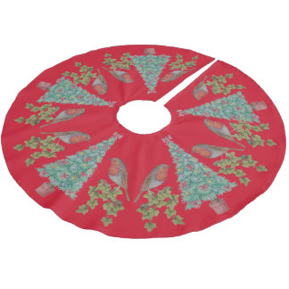decorated christmas trees with ivy and robins brushed polyester tree skirt