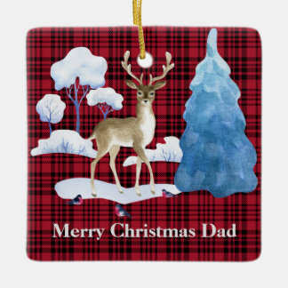 Deer on a Red Plaid Background Ceramic Ornament