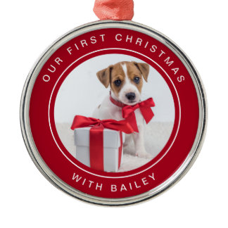 Dog's First Christmas   Red and White with Photo Metal Ornament