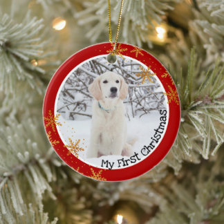 Dog's First Christmas Red Gold Snowflakes Photo Ceramic Ornament