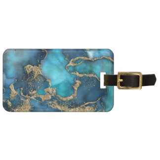 Dreamy Blue Teal and Gold Luggage Tag