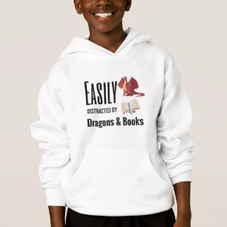 Easily distracted by Dragon and Books nerd Hoodie