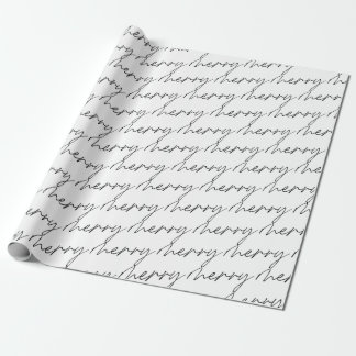 Elegant Chic Black White Merry Script Lettering Wrapping Paper