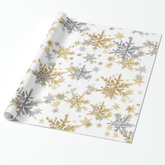 Elegant Chic Sparkling Gold & Silver Snowflakes Wrapping Paper