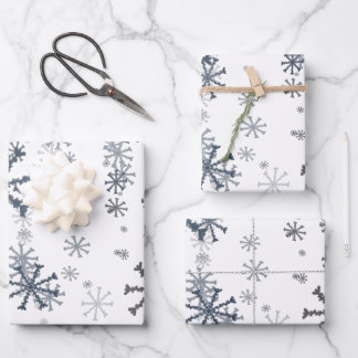 Elegant Christmas snowflakes pattern Wrapping Paper Sheets