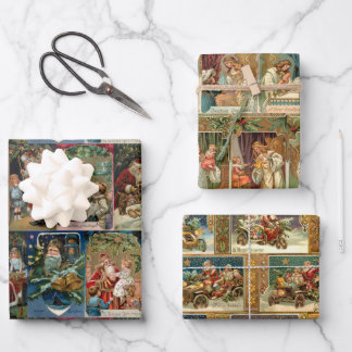 Elegant Colorful Victorian Gold Angels & Santas Wrapping Paper Sheets