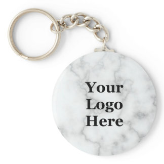 Elegant Faux White Marble Your Logo Here Keychain