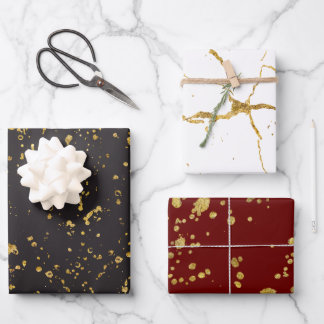 Elegant Gold Printed Splashes and Streaks Pattern Wrapping Paper Sheets