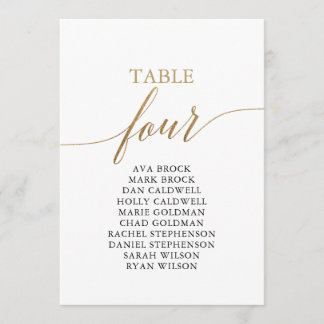 Elegant Gold Table Number 4 Seating Chart